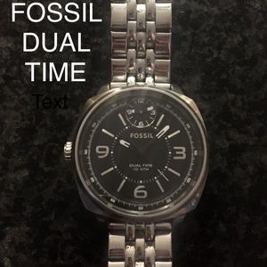 Fossil Dual time stainless steel watch